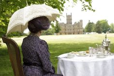 The Dowager Countess taking tea on Downton Abbey