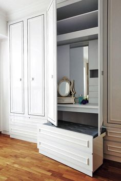 Lovely the classic casement doors and the ingenuity to keep the dresser away when not in used.