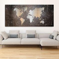 Abstract world map πανοραμικός πίνακας σε καμβά Room Ideas, Map, Abstract, Decor, Summary, Decorating, Maps, Dekoration, Deco