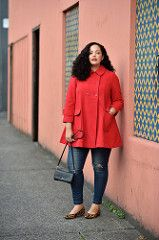 Plus Size Fashion for Women - Girl with Curves - Red Coat, Leopard Flats Looks Plus Size, Curvy Plus Size, Moda Plus Size, Plus Size Dresses, Plus Size Outfits, Dresses Uk, Evening Dresses, Outfit Vestidos, Curvy Women Outfits