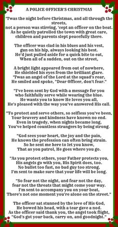 A Police Officer's Christmas:                                                                                                                                                                                 More
