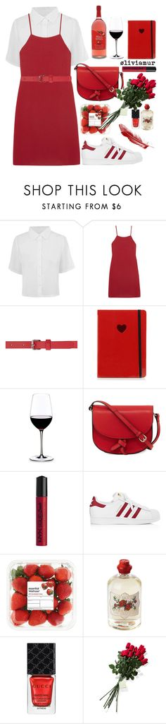 """""""Red is the New Black❤️"""" by oliviamur ❤ liked on Polyvore featuring Reformation, Versus, Marc Jacobs, Riedel, KC Jagger, NYX, adidas, Soap & Paper Factory, Gucci and Hanky Panky"""