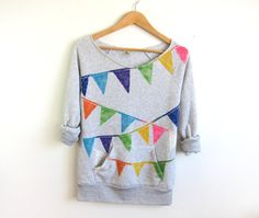 Triangle Bunting Banner HAND STENCILED Deep Scoop Neck Heather Sweatshirt in Ash Grey Multi Rainbow
