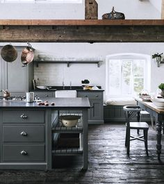 English Country Kitchens by deVOL – Blue and White Home Loft Kitchen, Kitchen And Bath, New Kitchen, Kitchen Dining, Kitchen Cabinets, Grey Cabinets, Kitchen Decor, Kitchen Pics, Barn Kitchen