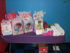 Gifts and favor boxes for doc mc stuffins party