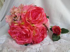 Pink Silk Flower Bridal Bouquet
