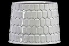 Embossed Hexagonal Pattern Cylindrical Vase