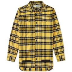Off-White Distressed Tartan Shirt ($510) ❤ liked on Polyvore featuring tops, tartan shirt, yellow checked shirt, champagne top, distressed top and plaid shirts