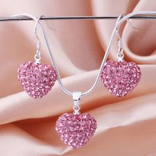 Love this heart pendant earring necklace jewelry silver 925 sets #jewelry sets #crystal jewelry