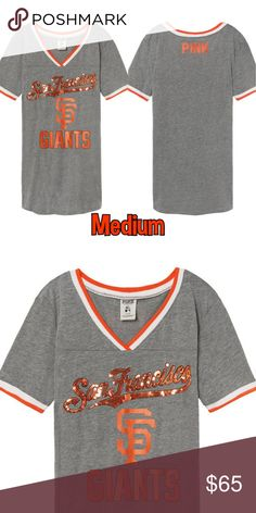 Drop $ALE ⚾ SF Giants Bling Perfect V-Neck Tee NEW IN ORIGINAL PACKAGING SIZE = MEDIUM Victorias Secret VS PINK SF Giants Perfect T Bling V Neck Gray Orange Black White.  A must-have to mix, match and layer! This v-neck has a relaxed fit and neckline for a cool, casual look. Wear to the next home game! Relaxed fit, Ribbed trim, V-neck, Curved hemline, Imported cotton/polyester SAME DAY SHIPPING VS226BP9 PINK Victoria's Secret Tops Tees - Short Sleeve