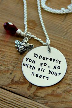 Wherever you go Necklace, Confucius Necklace, Sterling Silver, Doctorate, Masters,Go with all your heart, Journey Love Necklace Confucius, , on Etsy, $49.00