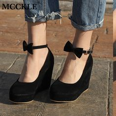 6ff86cc9c 30% СКИДКА|MCCKLE/женские туфли на высоком каблуке, элегантные свадебные  модельные туфли лодочки на танкетке, женская обувь из флока на платформе с  пряжкой ...