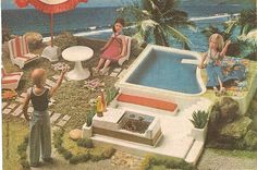 Furga Doll Pool and Patio (Italy), 1977 - Furga dolls were a line of approximately Barbie-sized fashion dolls made in Italy. They were also exported to Germany.