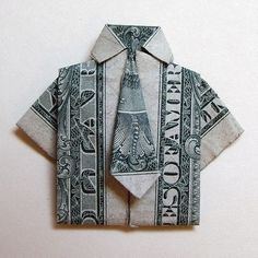 Dollar shirt and tie . Fold a piece of origami clothing in under 30 minutes by paper folding with dollar bills. Creation posted by Melinda H. Difficulty: Simple. Cost: Absolutley free.