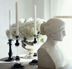 """Ralph Lauren Home Archives, """"Mayfair"""", Dining Room detail, 2008; """"Fashioned with modern elegance and undertones of 1940s glamour, this sophisticated décor features well-tailored furniture deftly layered with silver and pewter metallics, natural woven materials and black, white and cream fabrics."""""""