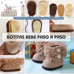 cómo tejer botas para bebé con bucles paso a paso en video y fotos