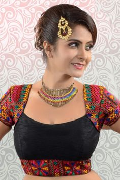 #Black multicoloured raw #silk exquisite #blouse with rounded square neck-BL847