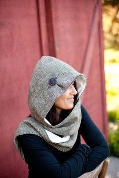 Hooded Scarf sewing pattern : idea - silk and flannel combo
