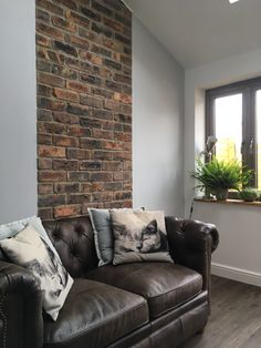 This demonstrates how brick slips can be used to create a feature, without being used as a complete wall. This would be a great way of creating the look of a chimney breast focal point, without losing any space, in a more compact room, or to break up a long expanse of wall.  The brick slips in the picture are our STOKE HANDMADE BRICKS. At Cawarden, we can cut any reclaimed brick in our yard, to match the existing brickwork or character of your project.