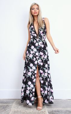 This beautiful floor length gown will turn heads. With a deep V neck and the floral pattern combined, you will look both elegant and sexy. Pair with some strappy heels and neutral make up for a wow effect.