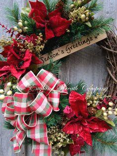 Christmas Wreath Holiday Wreath Christmas by NewEnglandWreath