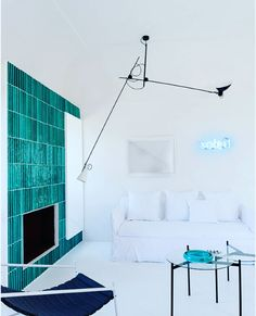 VV Cinquanta Suspension featured in the latest issue of in a lovely Capri setting by architect Photo by Parisian Apartment, Living Spaces, Living Room, All White, Bold Colors, House Colors, Color Pop, Colour, Floor Lamp