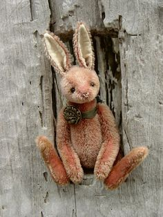 Proudfoot  One Of a Kind Pink Artist Rabbit Bear by aerlinnbears, $235.00