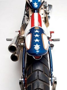 """1998 Harley Davidson Sportster with Evel Knievel paint job, or, """"Captain America Lives! Cool Sports Cars, Sport Cars, Cool Cars, Vintage Harley Davidson, Cool Motorcycles, Vintage Motorcycles, Mv Agusta, Street Tracker, Side Car"""