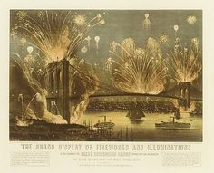 Currier & Ives (American, active New York, 1837–1907). The Grand Display of Fireworks and Illuminations at the Opening of the Great Suspension Bridge Between New York and Brooklyn on the Evening of May 24, 1883. View from New York Looking towards Brooklyn, 1883. The Metropolitan Museum of Art, New York. The Edward W. C. Arnold Collection of New York Prints, Maps and Pictures, Bequest of Edward W. C. Arnold, 1954 (54.90.779) #newyork #nyc