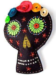 black felt mixed-media skull wall art by Rawbone Studio, via Flickr