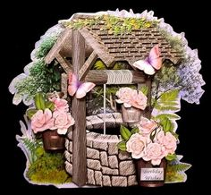 Peach Roses Wishing Well Shaped Card on Craftsuprint designed by Robyn Cockburn - made by Suzi Cooper - I printed onto heavyweight matte photo card. I scored across the back section then fastened to the front using wet glue. Once dried I added the decoupage elements using 2mm foam pads. A lovely design with that wow factor. - Now available for download!