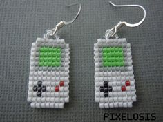 Your place to buy and sell all things handmade - Gameboy Classic Earrings Seed Bead Video Game Jewelry by Pixelosis Pony Bead Projects, Pony Bead Crafts, Seed Bead Crafts, Seed Bead Jewelry, Bead Earrings, Seed Beads, Pony Bead Patterns, Beaded Jewelry Patterns, Beading Patterns