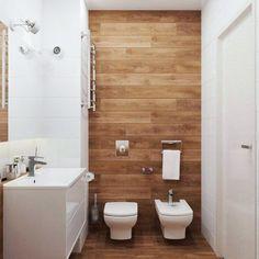 Porcelanato que imita madeira no banheiro deixa um ambiente muito mais agradável. O que vocês acham?  #decoracao #home // via pinterest