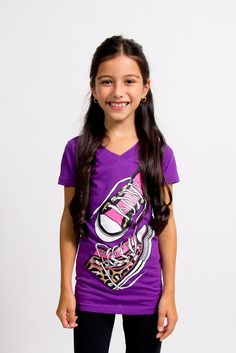Graphic Tee with stylish shoes logo, puffy print, girls casual wear, bright purple.