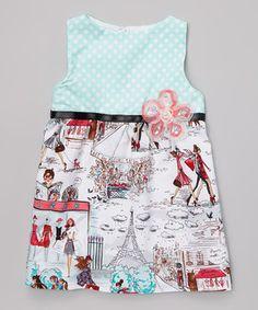 Aqua Polka Dot Promenade Dress - Toddler & Girls by Wonder Me #zulily #zulilyfinds