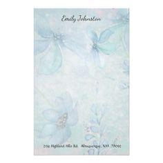 #stylish - #Blue Floral Custom Stationery
