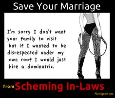 """""""how to save your marriage from in-laws"""" Are your in-laws meddling between you and your husband and negatively impacting your marriage? While a marriage is established on the emotion and dedication of two individuals, the relationship is often jeopardized by extraneous issues. One of the most sensitive issues to cope with in a marriage is tricky associations with the in-laws."""