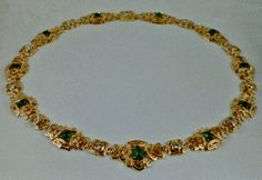 18K Gold Celtic Choker with Emeralds and Diamonds Custom Order Only by postgatejewelers on Etsy
