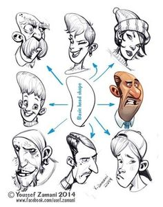 Art References — anatoref: Drawings by Youssef Zamani - Tutorials - Caricature Character Design Animation, Character Design References, Character Drawing, Comic Character, Character Illustration, Character Concept, Character Sketches, Concept Art, Cartoon Faces