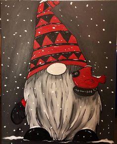 Christmas Rock, Christmas Gnome, Christmas Projects, Etsy Christmas, Santa Paintings, Christmas Paintings On Canvas, Easy Canvas Painting, Diy Painting, Pumpkin Painting