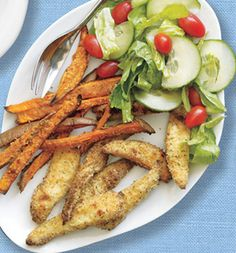 Oven-Baked Fish and Sweet Potato Fries - SELF