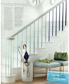 "I saw this eye-catching paint treatment to a banister in Martha Stewart Living and ripped it out for my ""dream home projects"" folder. It wouldn't well work on our current banister - the lighting is Stair Spindles, Banisters, Banister Rails, Railings, Painted Stairs, Blue Rooms, White Decor, My Dream Home, Dream Homes"