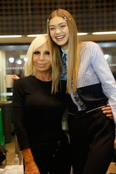 Gigi Hadid and Donatella Versace backstage at the Versace show during Milan Fashion Week Spring/Summer 2017 on September 23, 2016 in Milan, Italy.