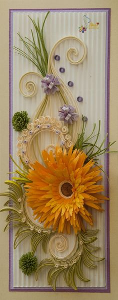 Floral Quilling shows depth and advanced design style Quilled Paper Art, Quilling Paper Craft, Paper Crafts, Diy Crafts, Quilling Work, Neli Quilling, Quilling Patterns, Quilling Designs, Flower Cards