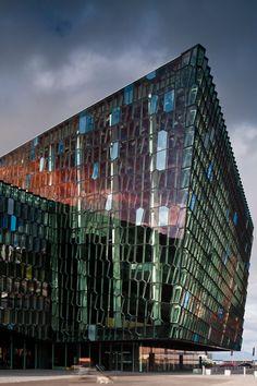 Harpa Concert Hall and Conference, Reykjavik, Iceland. Designed by Henning Larsen Architects, Batteríið Architects and Studio Olafur Eliasson