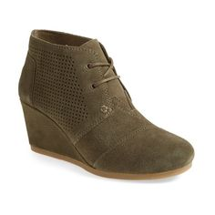 Women's Toms Perforated Desert Wedge Bootie ($79) ❤ liked on Polyvore featuring shoes, boots, ankle booties, green suede, toms booties, green boots, suede booties, ankle boots and wedge ankle booties