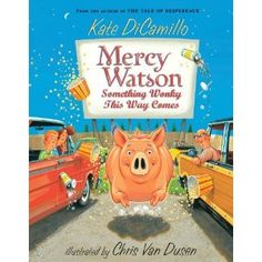 Mercy Watson series by Kate DiCamillo. These are great, funny read a loud books about a little pig and her adventures.  I choose to read them aloud with a southern accent but that's up to you.