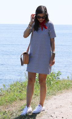 striped dress + neck scarf + chucks