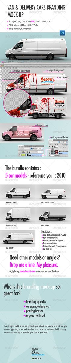 Van & Delivery Cars Branding Mockup Vehicle Wrap Mockup Template by centmillionaire. Vehicle Signage, Mockup Photoshop, Branding, Truck Design, Car Wrap, Car Brands, Brochure Design, Flyer Template, Designer