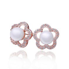 AEKK.Jewelry Fresh water Pearls 18K Gold GP Earrings